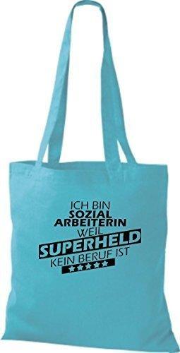 Stoffbeutel Ich bin Sozialarbeiterin, weil Superheld kein Beruf ist Hellblau