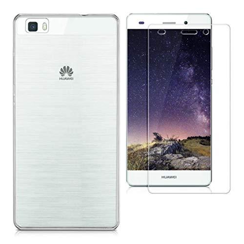 oba Huawei SE Hülle,Cover P8 Lite 2015 5.2 Zoll Silikon (TPU + PU) Transparente Slim Case für Huawei P8 Lite 2015 + gehärtetes Glas Huawei P8 Lite (2015)