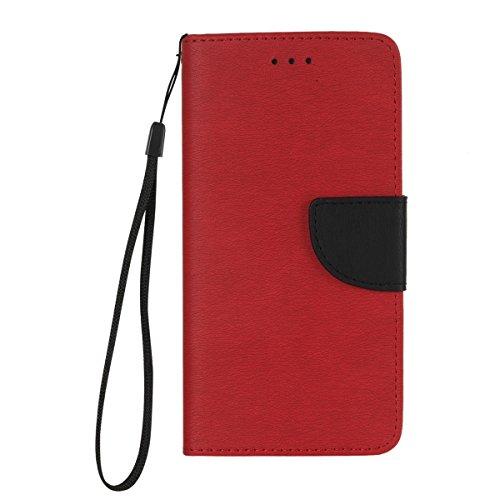 Felfy Lanyard Brieftasche für iPhone 7 Plus,iPhone 7 Plus Handyhülle Elegante Retro,iPhone 7 Plus Schutzhülle Flip Cover Wallet Folio Hit der Farbe Handycover Schutz Cases Etui Lederhülle Handytasche  Rote + Schwarz