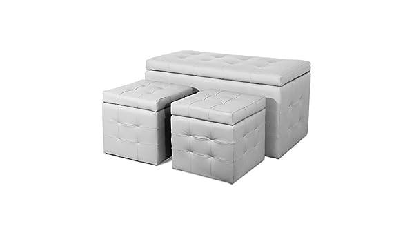 Panca Contenitore Bianca : Panca contenitore 2 pouf ecopelle bianca arredo interni design