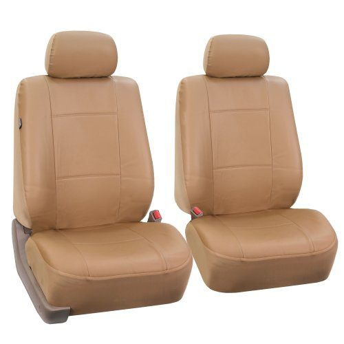 FH-PU001102 PU Leather Car Front Bucket Seat Covers Solid Tan color by FH Group