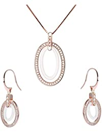 Stella Maris Damen Schmuckset - Halskette mit Anhänger und Ohrringe - Rosévergoldetes 925 Sterling Silber und Premium Keramik in Weiss - Zirkoniasteine und Diamanten - 45 cm - STM15J013A14