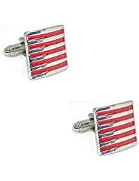Square Red Strips Cufflinks With Enamel Finish In A Velvet Gift Box For Men High Quality Zinc Alloy Standard Size...