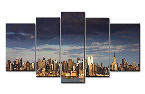 ür Home Decor NEW YORK HOCHHAUS by the Sea 5Gemälde Moderne Giclée-gespannt und gerahmt-Kunstwerken Öl The City Bilder Foto Prints auf Leinwand (Das Empire Hotel New York Halloween)