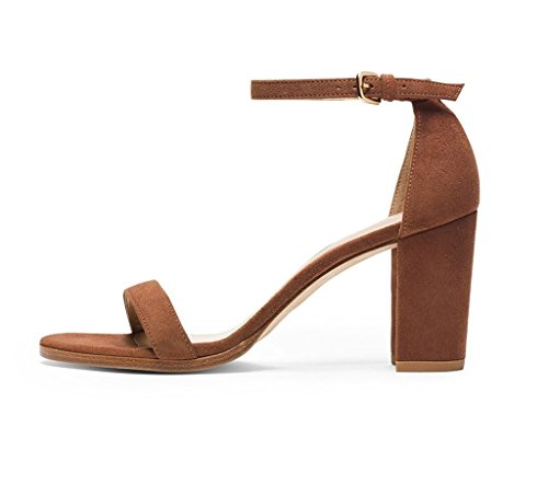 EDEFS Damen Knöchelriemchen Blockabsatz Sandalen Peep Toe Frühjahr Sommer High Heel Schuhe Braun