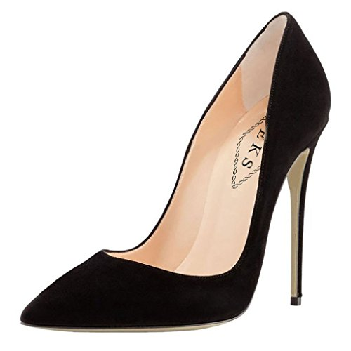 EKS Damen Schwarz Wildleder Spitz High Heels Kleid-Partei Pumps 38 EU (Schwarze Heel Wildleder High)