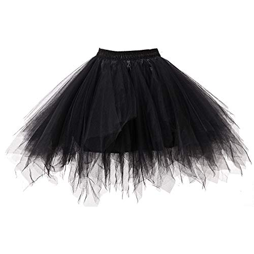 WinCret Tüllrock Damen 50er Rockabilly Petticoat Tutu Damenrock Unterrock Cosplay Kurz Ballett Tanzkleid - Schwarz - Plus size