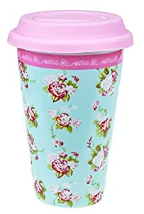 Katie Powell Forever England Martha Rose Floral Girlie Travel Mug - Green and Pink Floral