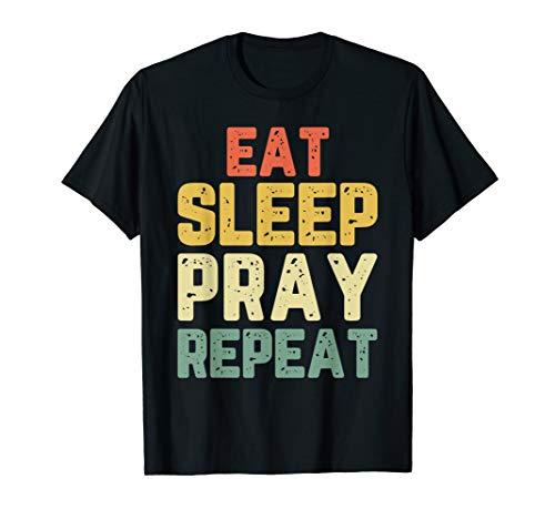 Christian Vintage T-shirts (Eat Sleep Pray Prayer Funny Christian Religion Gift Vintage T-Shirt)