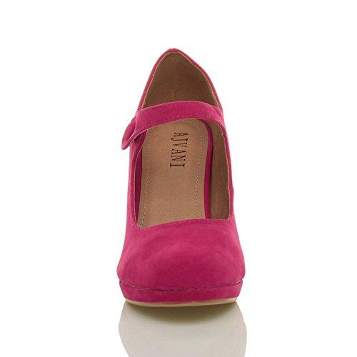 Femmes talon haut Mary Jane soir travail escarpins babies chaussures pointure Daim fushia rose