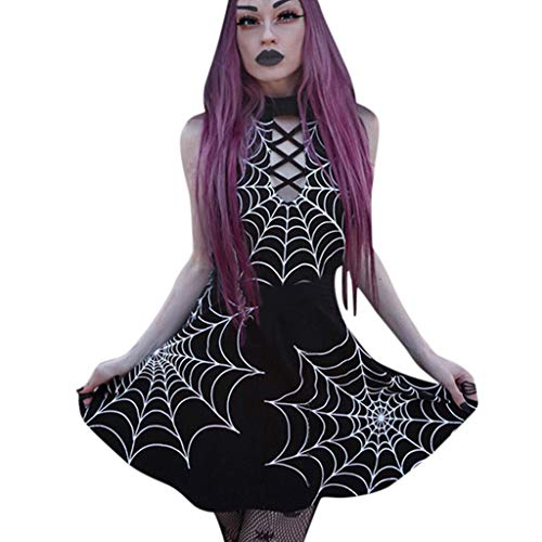Gothic Kleid Mittelalter Punk Minirock Piebo Damen Fashion Black Mysterious Spinnennetz Drucken Steampunk Mini Kleider A Line Rock Streetwear Retro Cosplay Kostüm Fasching Fasnacht Karneval Party