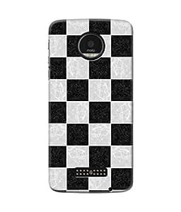 Be Awara Black & White Square Designer Mobile Phone Case Back Cover For Moto Z