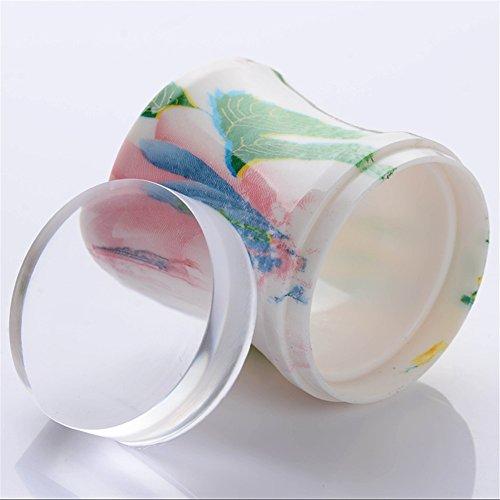 Born Pretty Maniküre-Set mit 3,8cm XL-Nagelstempel aus transparentem Gel-Silikon, Stempelgriff mit Blumenmuster und 2Schaber