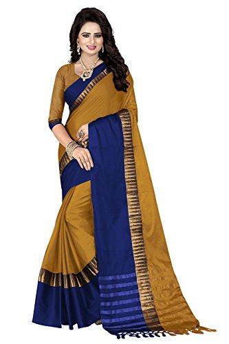Crazy Women's Cotton Silk Solid Saree with Blouse Piece Sivmani_102_Musturd_Free Size