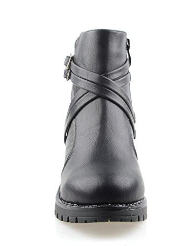 Eyekepper Frauen-Seiten-Reißverschluss-Multi Träger Kleid Reptil-Print Ankle Boots Schwarz