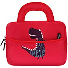 MoKo Funda de Fieltro Universal - Portátil Sleeve Bag 7-8 Pulgadas Bolsa de Neopreno Cover Case para iPad Mini 4 3 2 1 / Samsung Galaxy Tab S2 8.0 / Dragon Touch Y88X Plus Tableta, Dinosaurio Rojo