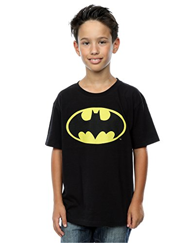 DC Comics Jungen Batman Logo T-Shirt 5-6 Years Schwarz (Kinder Dc Comics)