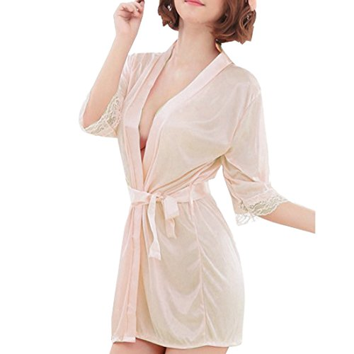 SiDiOU Group Nacht Robe für Frauen Satin Dressing Kleider Robe Imitation Seide Kimono Satin Lingerie Spitze Nachtwäsche Sexy Eis Seide Nachtwäsche (S, Champagner) (Seide Mode Frauen)
