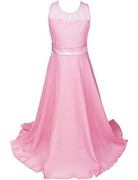 discoball Niñas Encaje Vestido de gasa vestidos de novia (longitud de suelo vestido largo vestido de niña de flores...