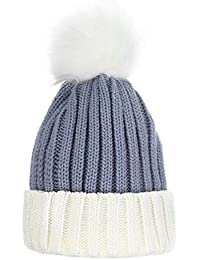 LeahWard Women s Warn Winter Hat With Fuax Fur Pom Pom Ladies Beanie Wool  Knitted 9128c6f7a562