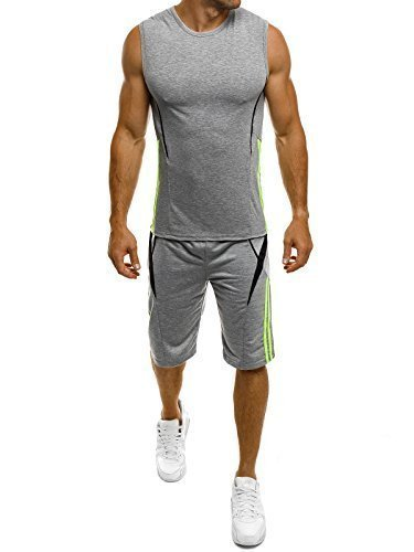 OZONEE Herren Sportanzug Trainingsanzug Shirt Kurzhose Fitness Red Fireball 8353 Grau XL