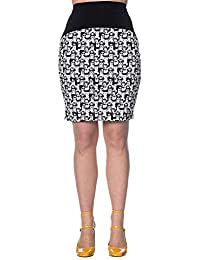 Banned Mini Falda Estampada de Tubo Tipo Años 60 - Blanco Negro 84acb810f2ed