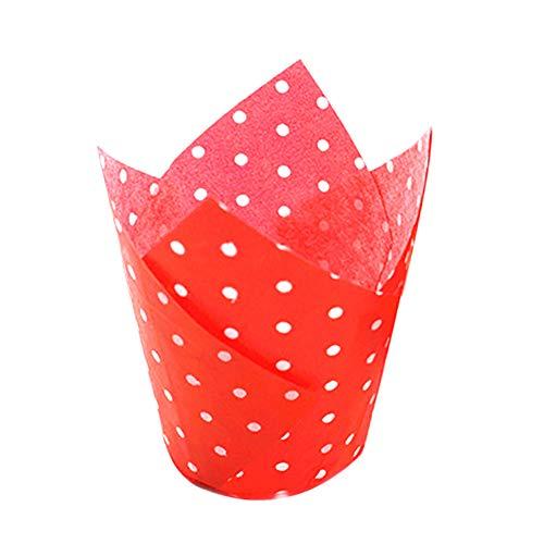 Saniswink Praktische tragbare Küchenutensilien 50 Stück Punkte hohe Temperaturbeständigkeit Kuchen Papierförmchen Tulpen Muffin Einheitsgröße rot