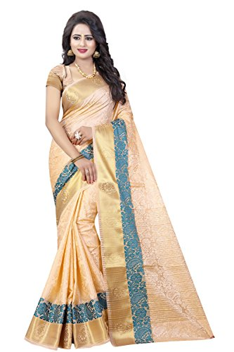 INDIAN BEAUTIFUL WOMEN'S ETHNIC WEAR CHIKU COLOUR SAREE WITH BLOUSE PIECE
