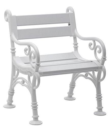 Sitzbank / Gartenbank / Sessel 1-Sitzer: Linderhof, Länge 68cm, weiß (hochwertiger Kunststoff, Parkbank Made in Germany)
