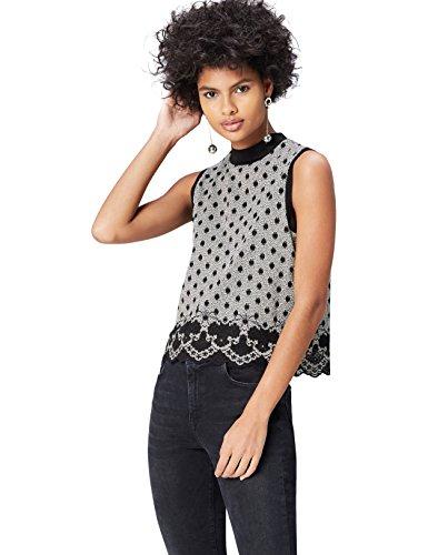 FIND Damen Bluse Lace Hem Spot Mehrfarbig (Black/Ivory), 46 (Herstellergröße: XXX-Large) (Spot-spitze)