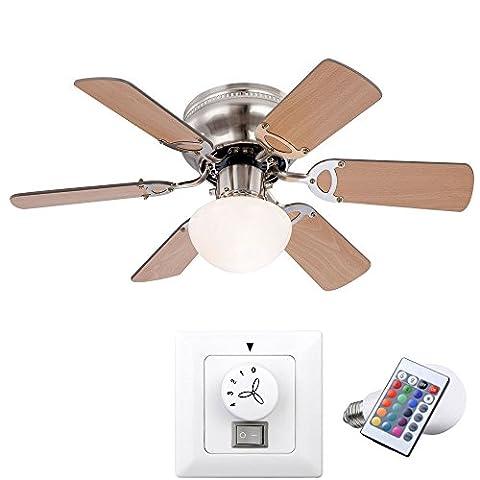 Decken Ventilator Lüfter Lampe Farbwechsler dimmbar im Set inklusive Wandschalter