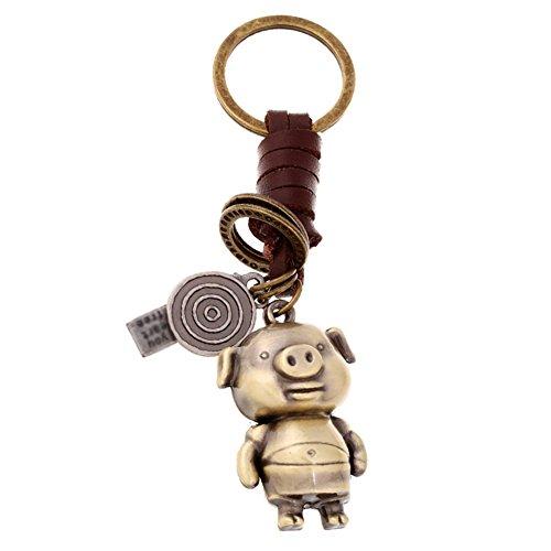 Hosaire 1x Keychain Taschenanhänger Vintage Eule/Spielzeug Schwein Anhänger Leder Schlüsselbund Auto Keys Deko Anhänger Schlüsselanhänger (Schwein 1 Ring)