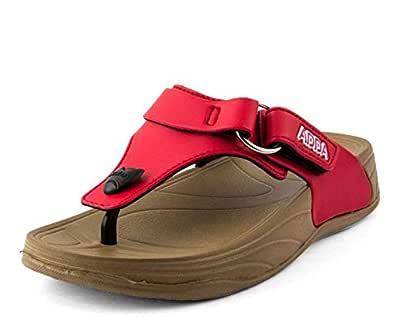 ADDA Comfortable Flipflops/Sandals for Women/Girl (Beige/Red)