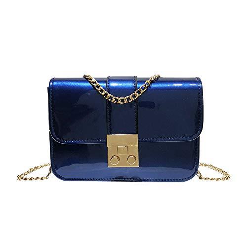 Giulogre_Damen Umhängetasche Giulogre Frauen Mädchen Lackleder Flap Bag Vorhängeschloss Crossbody Umhängetasche Damenmode diagonalem Schulterschluss Einfarbig Messenger Bag (Blau)