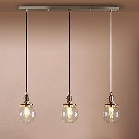 Pathson Industrial Vintage Modern Loft Bar Pendant Light Fittings Cluster Chandelier Edison Hanging Ceiling Lamp Light Fixture 3 Lights with Globe Glass Light Shade E27