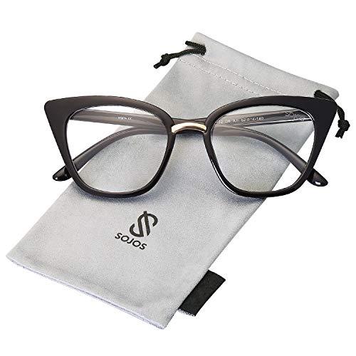SOJOS Schick Rechteckig Katzenaugen Voll-Rahmen Sonnenbrille Damen Herren SJ2052 mit Schwarz Rahmen/Klar Linse