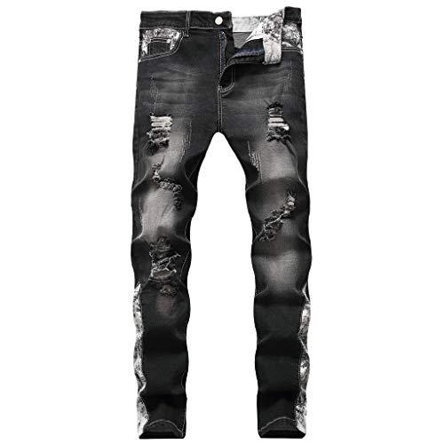 Ripped Jeans Herren für Herren-Jeanshosen, Herren Destroyed Stretch Jeans-Hose Used Slim-Fit Beiläufig Straight Denim Jeanshose -