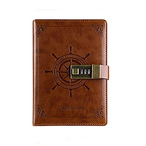 XYTMY PU Leather Business Notebook Classic Brown Notepads Professional Journal Locked with Pen Holder and Pockets