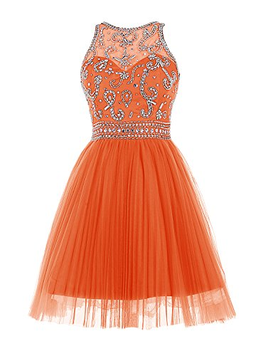 Wedtrend Damen Empire Taille Kurze Abendkleid Homecoming Kleid mit Perlen WT11050-Orange-14