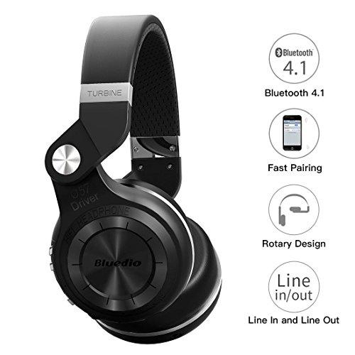 Zantec Regalo di Natale,Auricolare Bluedio T2S,Cuffia Pieghevole Bluetooth Stereo per Cuffie Bluetooth 4.1 T2S di Bluedio Nero