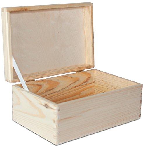 Grande Caja de Almacenamiento De madera Lisa sin Pintar - 30 x 20 x 14 cm - sin Manijas - Perfecta para Documentos, Objetos de Valor, Juguetes y Herramientas