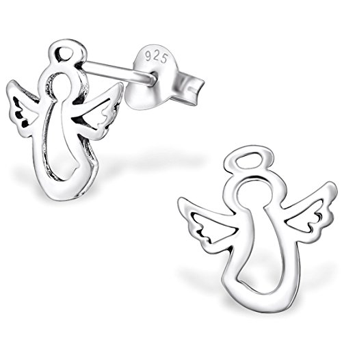 JAYARE Kinder-Ohrstecker Schutzengel 925 Sterling Silber oxidiert 10 x 10 mm Ohrringe