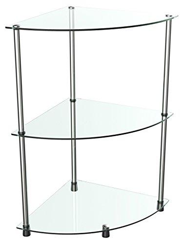 RICOO Bad-Regal für die Ecke WM501-C Stecksystem - Montage ohne Bohren | Hochglanz Klar-Glas Transparent/Durchsichtig | Eck-Regal Glas-Regal Badezimmer Stand-Regal Steckregal Beistell-Tisch
