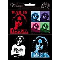 """JOHN LENNON Mini Assorted STICKER Set, Officially Licensed Products Classic Rock Artwork, 5.6"""" x 4.25"""" - Long Lasting Sticker DECAL"""