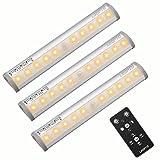 Unterbauleuchte LED 3er Pack Schrankleuchte mit Fernbedienung Lichtleiste für Kleiderschrank, Kabinette, Küche, Showcase, Keller