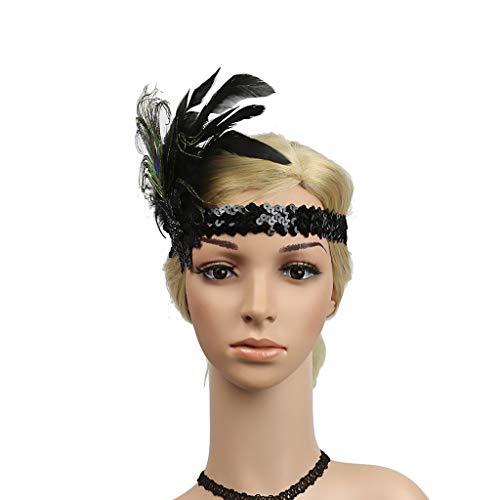 Lomsarsh 20er Jahre Flapper Feather Stirnband Flapper Headpiece Pfauenfeder Pailletten Stirnband Great Gatsby Zubehör Stirnband für Prom Pageant Themed Party (Gatsby Great Themed)