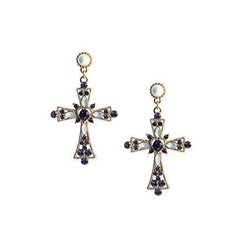 00bcd1d6f7a5 Pendientes cruz de plata de Mujer con perlas blancas y brillantes azules de  imitación con diseño francés de Cruz barrocas – Woman silver cross earrings  with ...