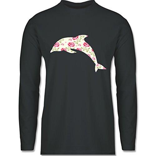 Shirtracer Sonstige Tiere - Delfin Blumen Rose - Herren Langarmshirt Dunkelgrau