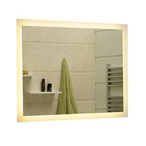 Dr. Fleischmann Badspiegel LED Spiegel GS084N mit Beleuchtung durch satinierte Lichtflächen Badezimmerspiegel (90 x 60 cm, warmweiß)