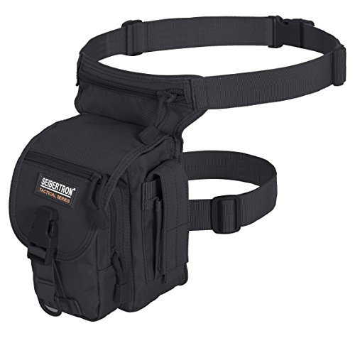 Seibertron Utilidad Panel Impermeable Airsoft Tactical Pierna de la Gota de la Bolsa del Tipo B Negro Cross Over Pierna Rig Negro